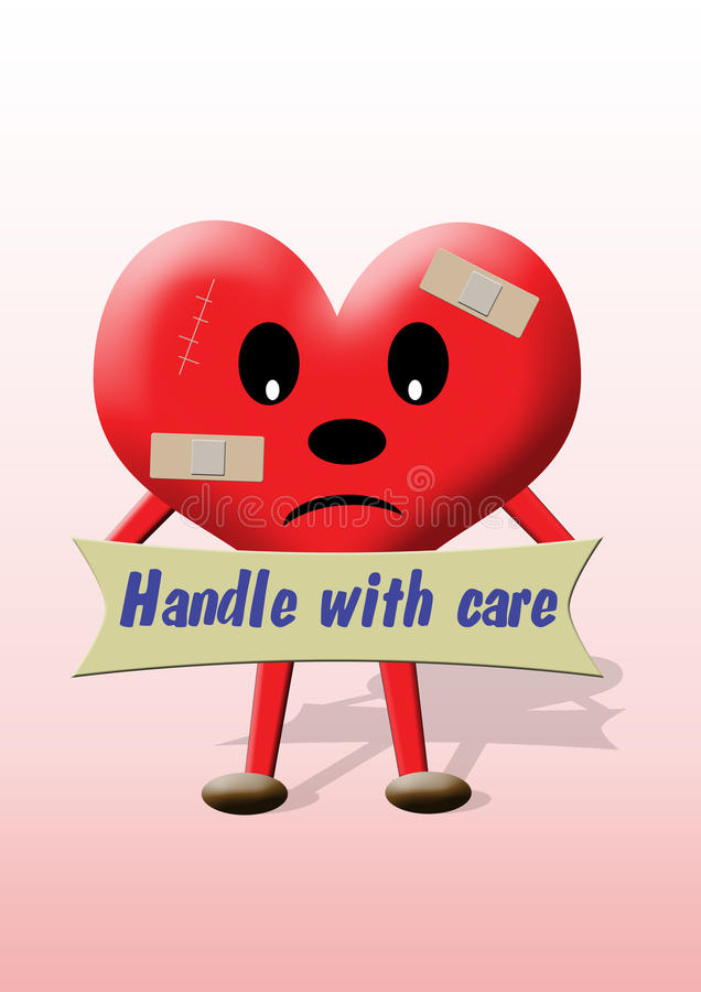 Starting a new relationship. A heart illustration with a banner 'Handle with care' > someone who starts a new relationship after a broken one stock illustration