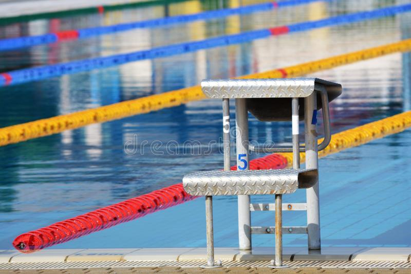 The starting position at the pool royalty free stock image