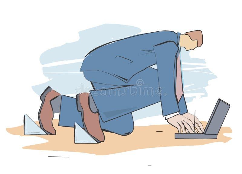 Download Starting-post-businessman stock vector. Illustration of full - 4140094