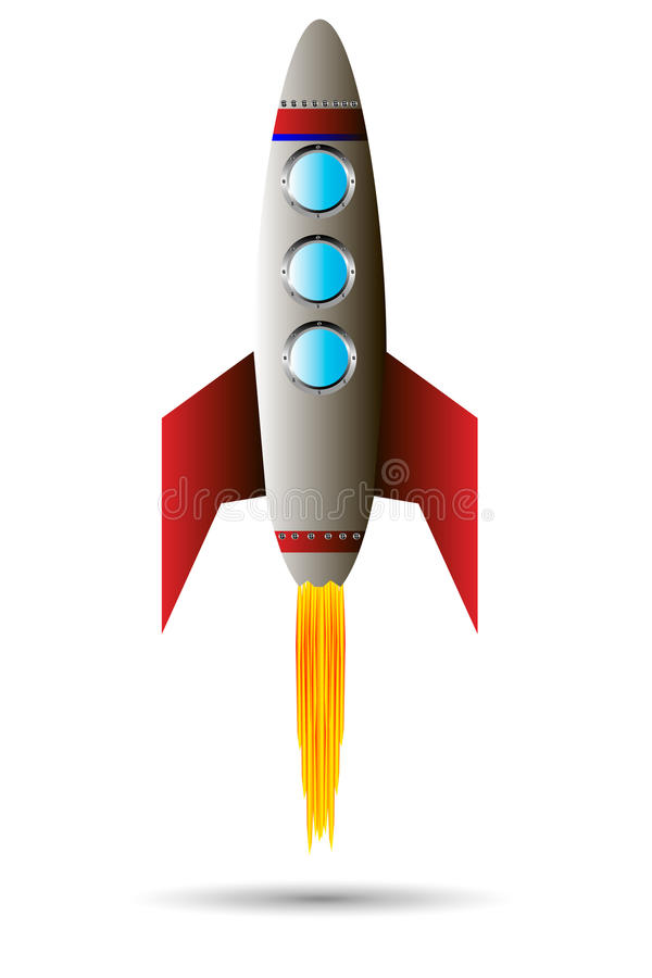 Starting red rocket vector illustration