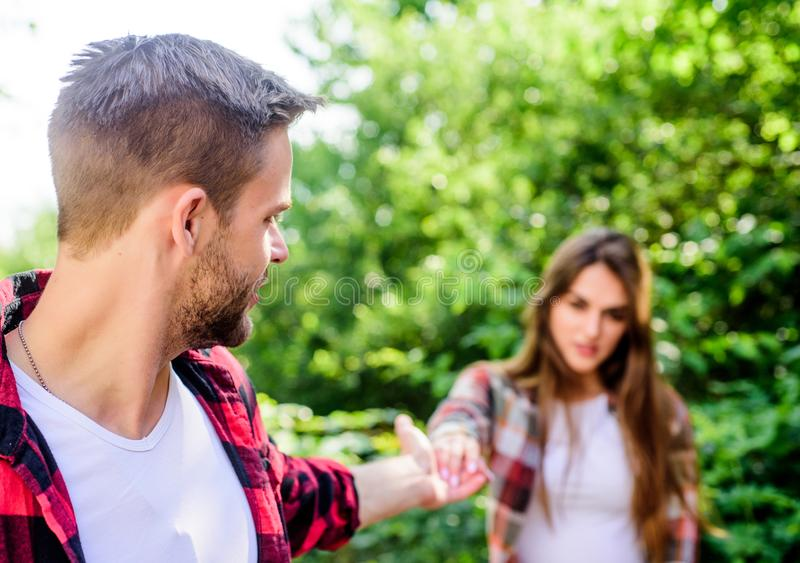 Starting relationship. Couple relationship. Follow me. Couple outdoors nature defocused. Couple in love meeting. Put. Yourself forward in way that is respectful stock image