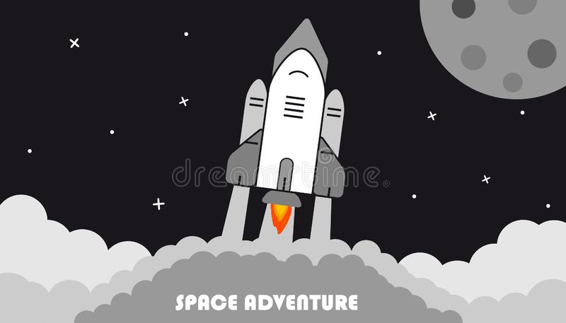 Starting Rocket, Moon And Stars - Space Adventure Background - Vector Illustration stock illustration