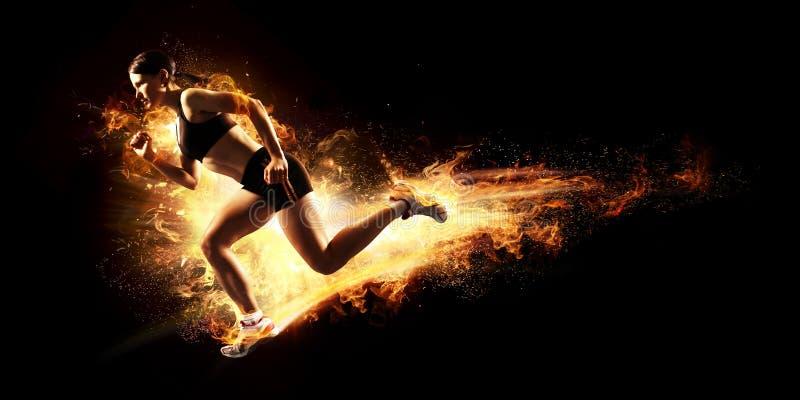 Starting runner. Sports background. Starting runner, fire energy