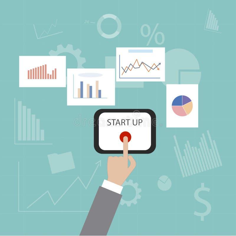 Startknoop het concept de aanvang van zaken Vector toestellen en ontwikkelingspictogrammen royalty-vrije illustratie
