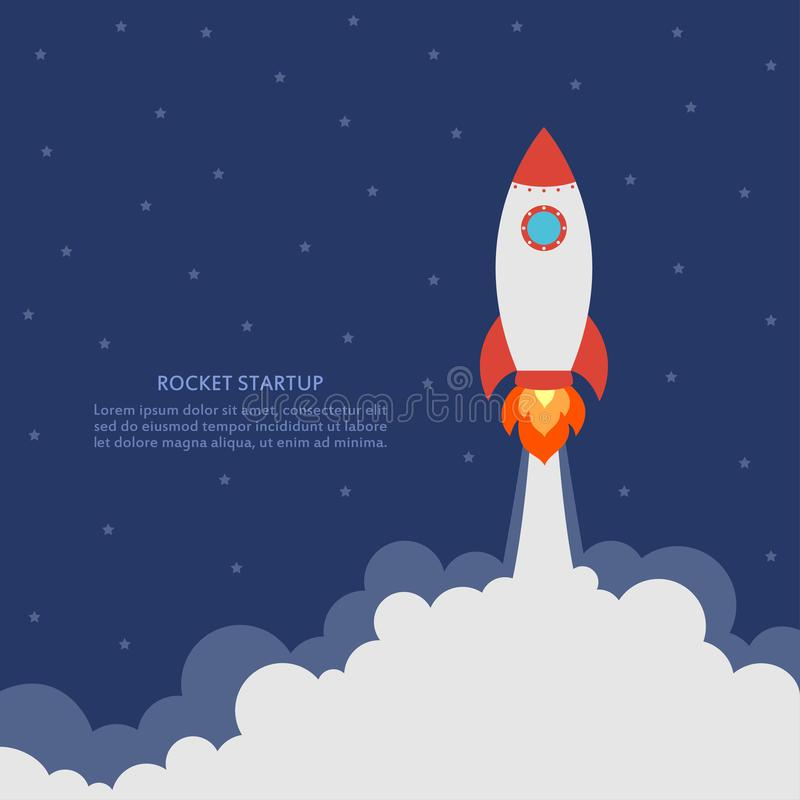 Startkonzept mit Raketenstart Geschäftsfahne mit Raumschiff Entwicklung und modernes Projekt Vektor stock abbildung
