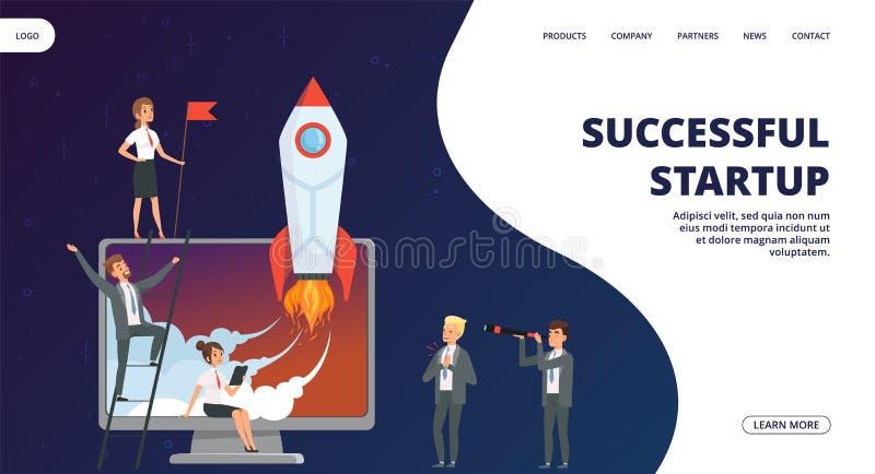 Startlandingspagina De vector succesvolle van het commerciële banner teamweb stock illustratie