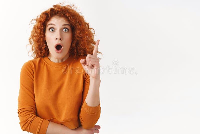 Startled激发华美的妇女有优良创艺的红头发人,分享想法与队,喘气的女性工友开放 免版税库存图片