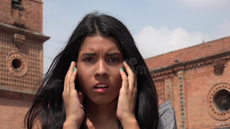 Startled People In Shock. A young hispanic female teen royalty free stock image