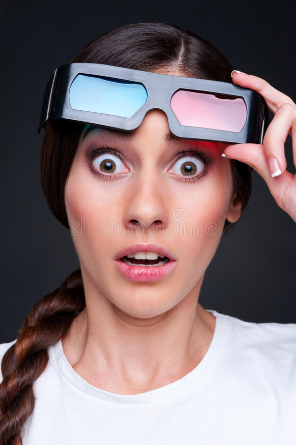Free Startled Woman In 3d Glasses Stock Photography - 26244492