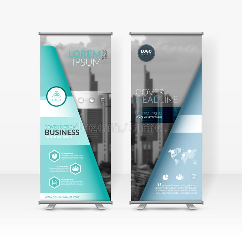 Business roll up design template, X-stand, Vertical flag-banner design layout, standee display promoting, brochure, Corporate flye royalty free illustration
