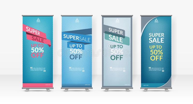 Business roll up design template, X-stand, Vertical flag-banner design layout, standee display promoting. Brochure, Corporate flyer sale banner cover stock image