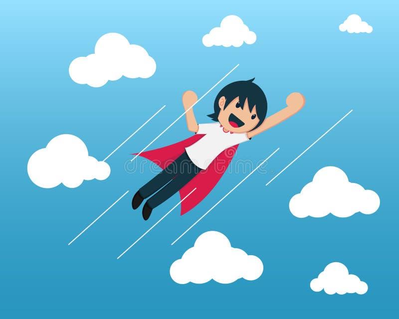 Startpojkeflyg i blå himmel stock illustrationer