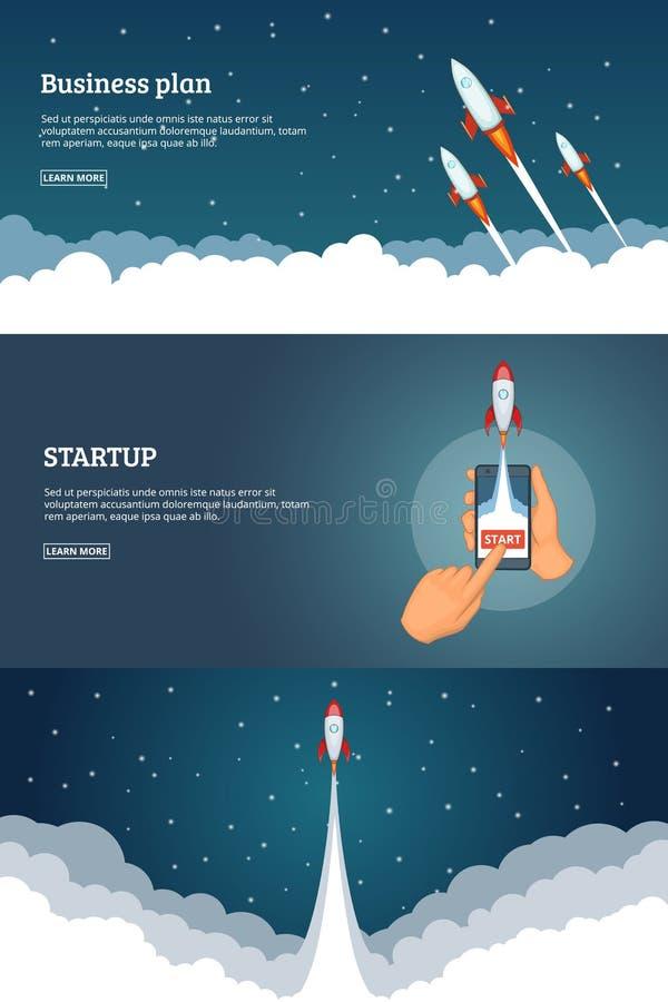 Startprojektfahnen-Konzeptsatz Geschäftskarikatur-Designvektor vektor abbildung