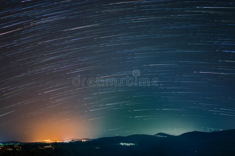 Startrails in South Italy stock image