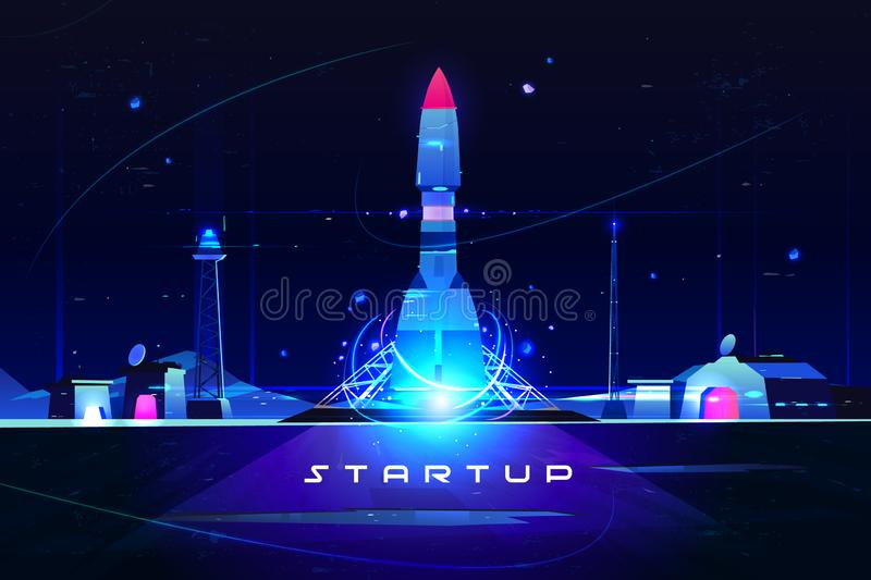 Startraket, lancering van bedrijfs marketing idee vector illustratie