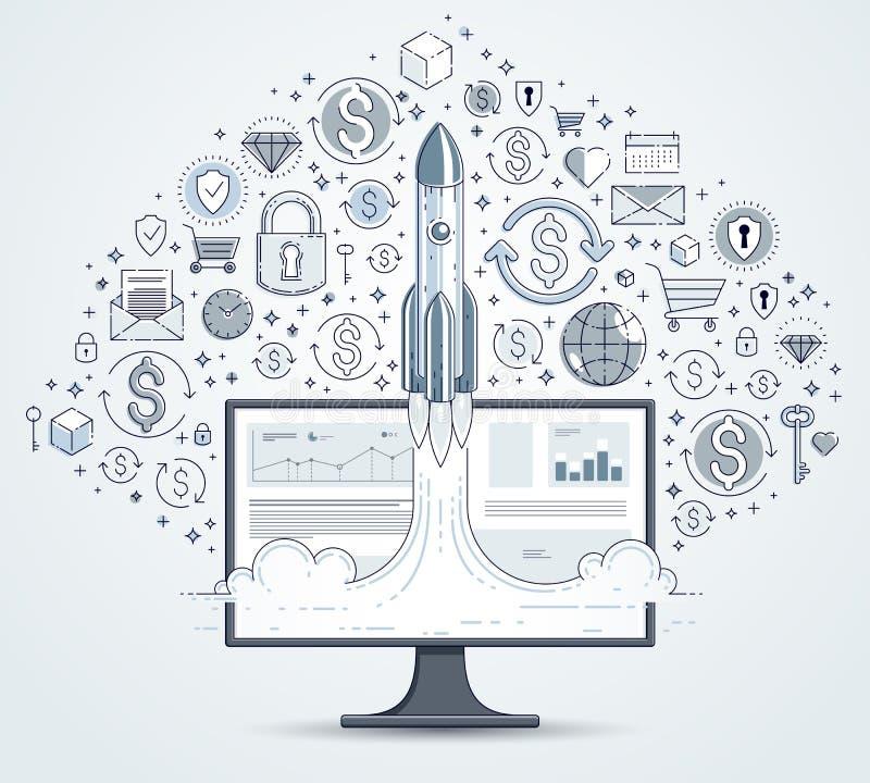 Startrakete entfernen sich über Computermonitor und Satz Ikonen, Weltraumraketefliegender start herauf Internet-Geschäftskonzept, stock abbildung