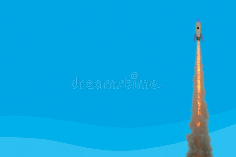 Startraketemodell, das gegen blauen Hintergrund sich entfernt Konzept des Projektes startend in Gesch?ft Wiedergabe 3d, verspotte stock abbildung