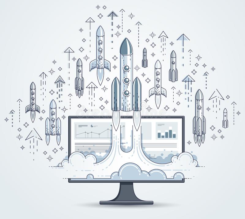 Startraketen entfernen sich über Computermonitor, Weltraumraketefliegender start herauf Internet-Geschäftskonzept, on-line-Finanz stock abbildung