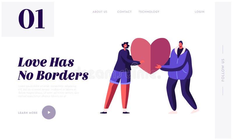 Startsida för webbplats på alla hjärtans dag Loving Couple Share Huge Red Heart till varandra Romantiska relationer Love vektor illustrationer