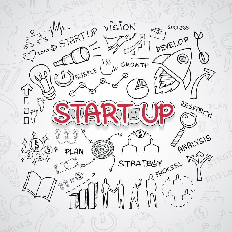 Starttekst, met creatief tekeningsgrafieken en grafieken het planidee van de bedrijfssuccesstrategie, moderne het ontwerptemperat stock afbeeldingen
