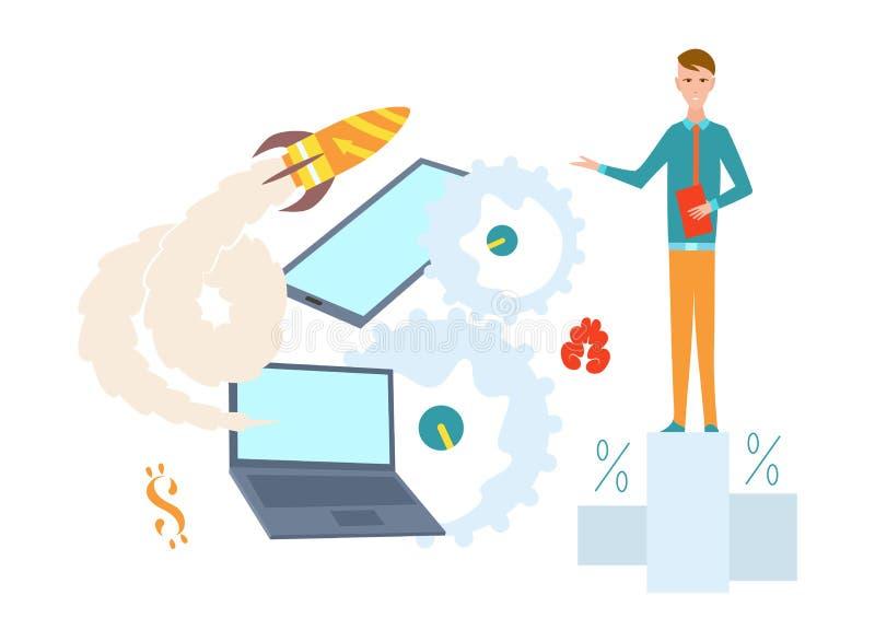 Startup иллюстрация концепции Исследование и дело, развитие и идеи бесплатная иллюстрация