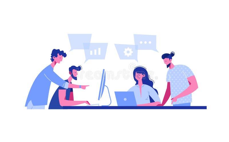 Startup встреча в плоском стиле Команда обсуждает социальную сеть, новости, болтовню, пузыри речи диалога около их, обсуждает иллюстрация штока