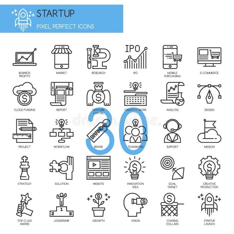 Startup дело и старт, тонкая линия установленные значки иллюстрация вектора