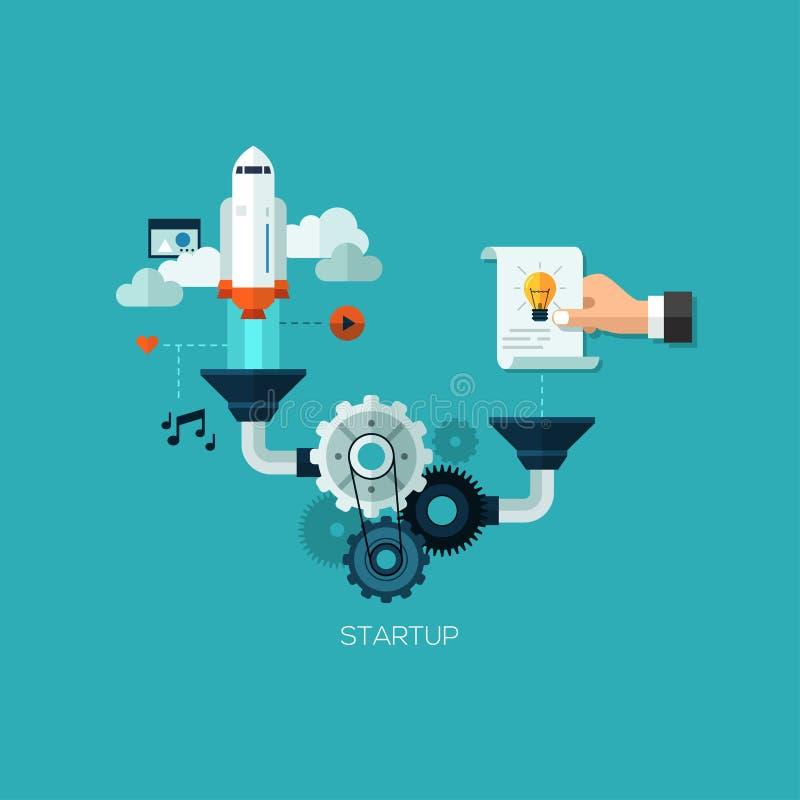 Startup запуская отростчатая плоская сеть infographic стоковые фотографии rf