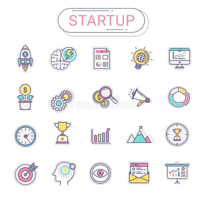 Startup значки - комплект новых значков дела содержит значки ракеты, дело, планирование, цель, диаграмму, дерево денег, успех иллюстрация штока