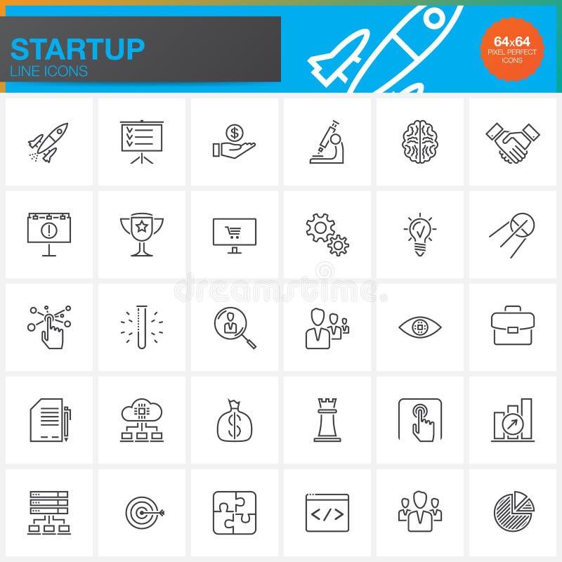 Startup линия установленные значки, собрание символа вектора плана, линейный пакет пиктограммы иллюстрация штока