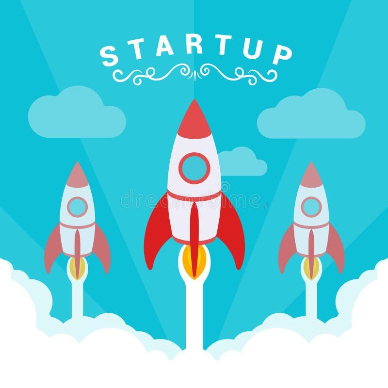 Startup иллюстрация Ракеты принимают  иллюстрация штока
