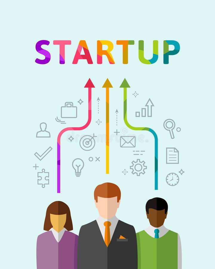 Startup концепция с разнообразными бизнесменами в команде бесплатная иллюстрация