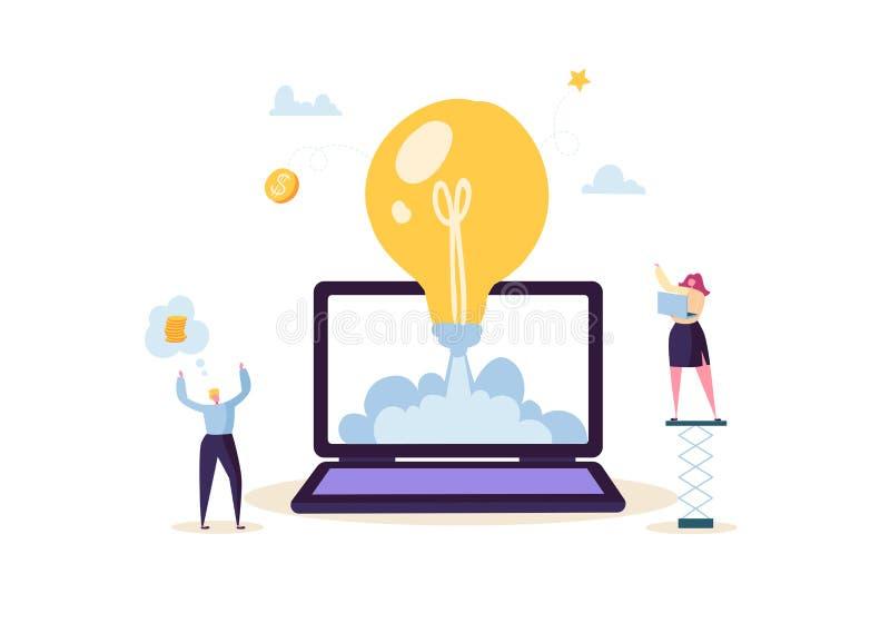 Startup концепция с электрической лампочкой и счастливыми характерами Плоские бизнесмены запуская Ракету от компьтер-книжки новый иллюстрация вектора