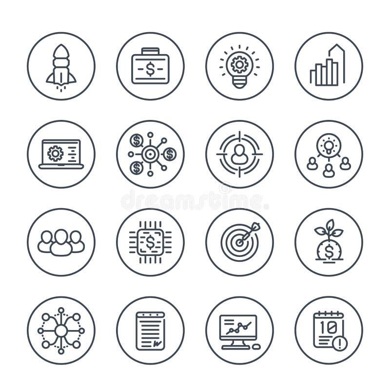 Startup линия значки, финансирование проектов выпуска нового товара бесплатная иллюстрация