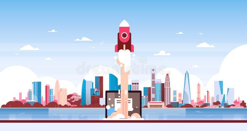 Startup нововведение ракеты над знаменем горизонта предпосылки городского пейзажа взгляда панорамы небоскреба города плоским гори иллюстрация штока