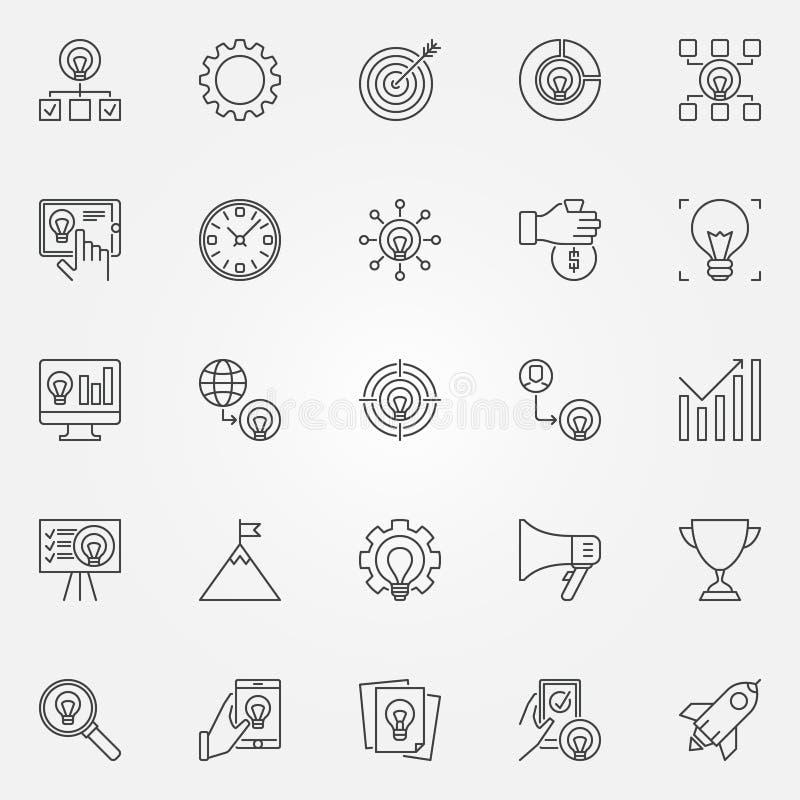 Startup установленные значки Символы плана дела вектора start-up иллюстрация штока