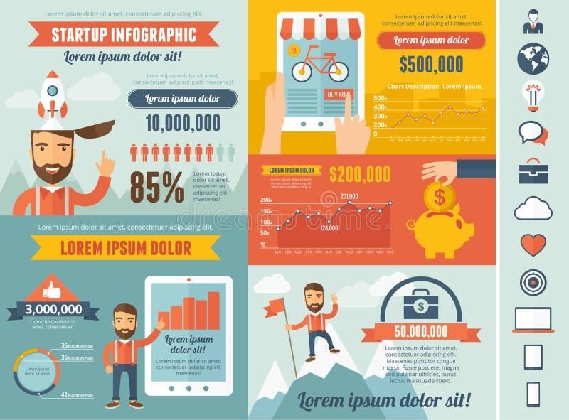 Startup шаблон Infographic иллюстрация вектора