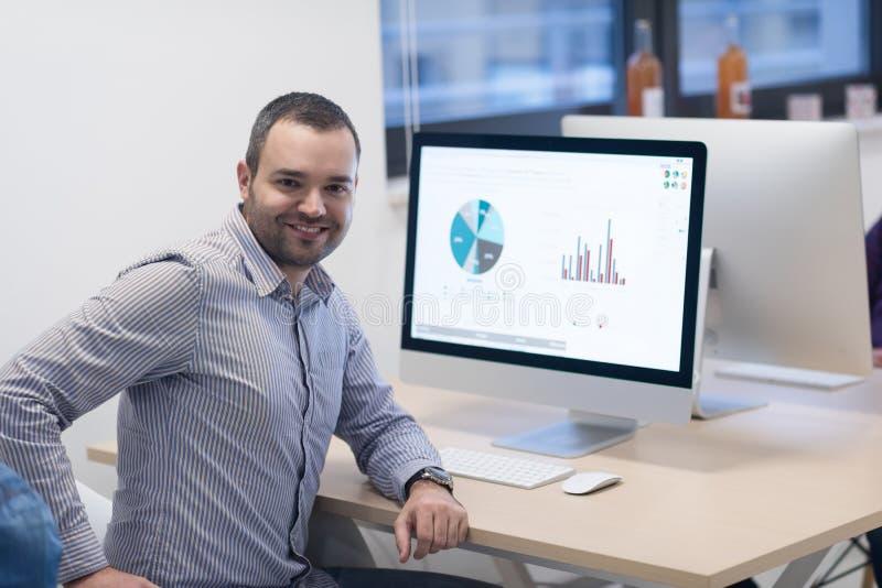 Startup affär, programvarubärare som arbetar på den skrivbords- datoren fotografering för bildbyråer