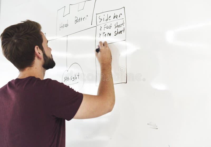 Startup affärsfolk som skriver på det vita brädet som delar planläggning arkivbilder