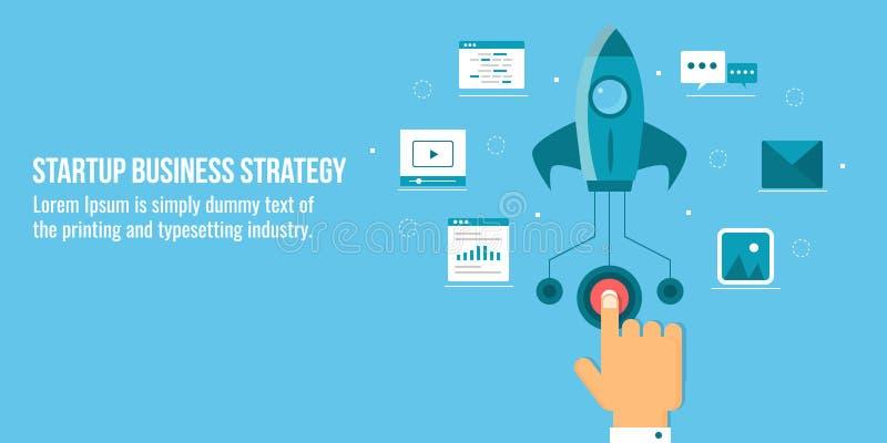 Startup affärsstrategi, raket som är klar att flyga, affärsman som trycker på startknappbegreppet Plant designvektorbaner vektor illustrationer