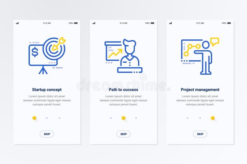 Startup begrepp, bana till framgång, vertikala kort för projektledning med starka metaforer stock illustrationer