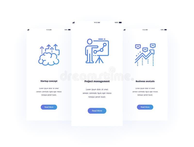 Startup begrepp, projektledning, vertikala kort för affärsanalys med starka metaforer vektor illustrationer