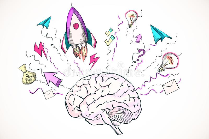 Startup and brainstorm concept royalty free illustration