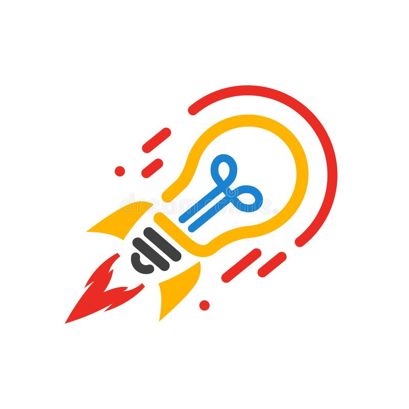 Startup, bulb rocket concept – vector vector illustration