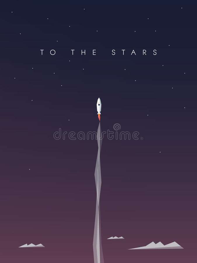 Startup business background. Space rocket flying stock illustration
