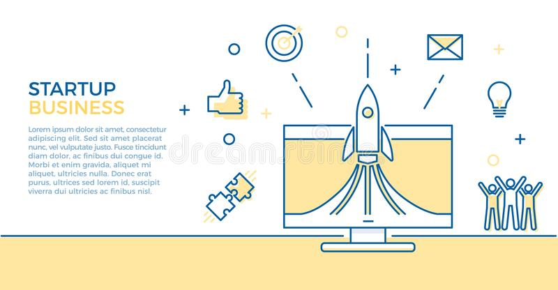 Startup business banner. Vector illustration for business related subjects. Rocket launch on computer with different icons. Startup business banner. Vector stock illustration