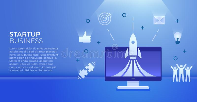 Startup business banner. Vector illustration for business related subjects. Rocket launch on computer with business icons. Startup business banner. Vector stock illustration