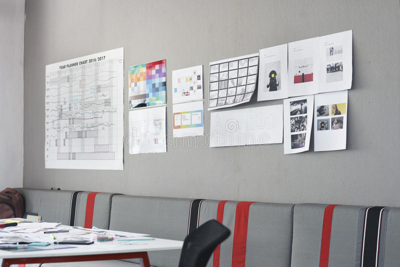 Startup Business Board Showing Task Strategy Plan Mission stock photo