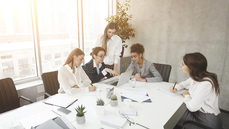 Startup business. Creative people brainstorming on meeting stock images