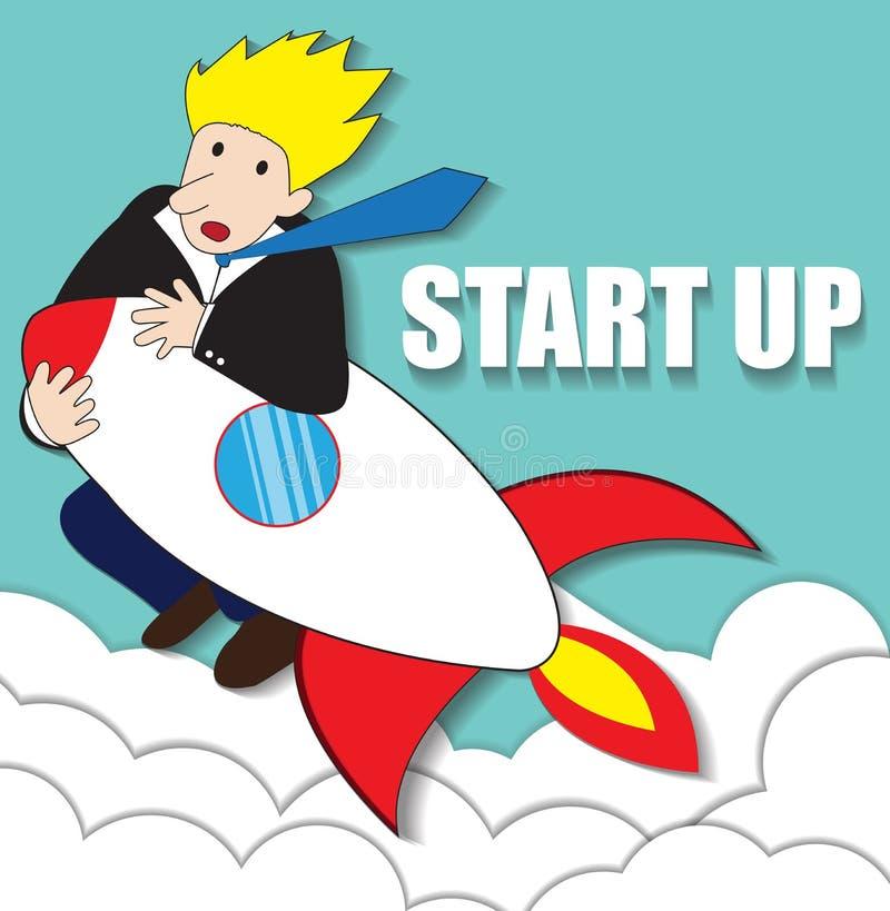 Startup Business. Flat design illustration. Businessman on a rocket royalty free illustration